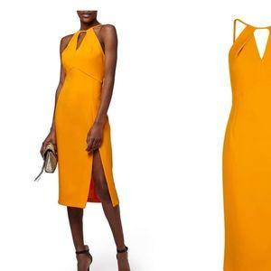 Marigold split midi dress